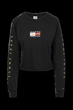 חולצת טי לוגומאנית עם שרוולים ארוכים בצבע שחור TOMMY HILFIGER