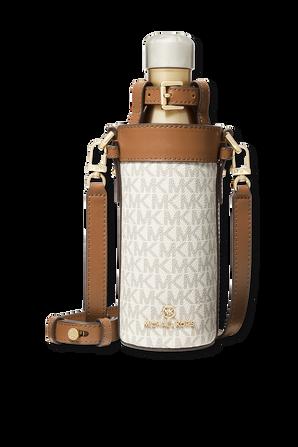 Large Logo Water Bottle Crossbody White Monogram Bag MICHAEL KORS