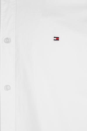 Slim Fit Stretch Cotton Shirt in White TOMMY HILFIGER