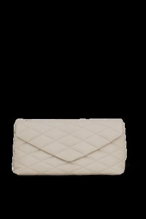 Sade Puffer Envelope Clutch in White SAINT LAURENT