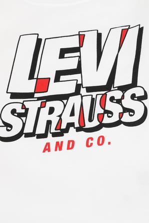 גילאי 4-7 חולצה ארוכה עם כיתוב ממותג בגווני לבן שחור ואדום LEVI`S KIDS