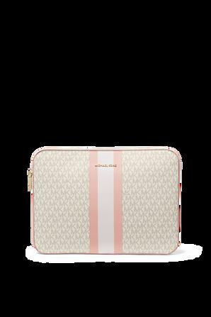 Jet Set Logo Stripe 15 Inch Laptop Case in Soft Pink MICHAEL KORS