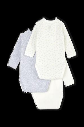 גילאי NB- 12 חודשים מארז שלישיית בגדי גוף ארוכים בגוונים שונים PETIT BATEAU