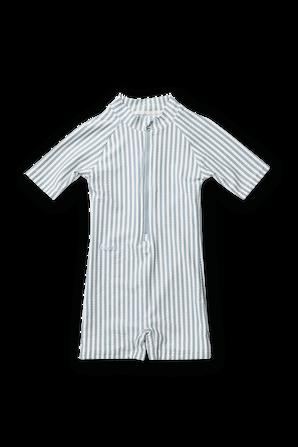 אוברול בגד-ים קצר בהדפס פסים תכלת-לבן LIEWOOD