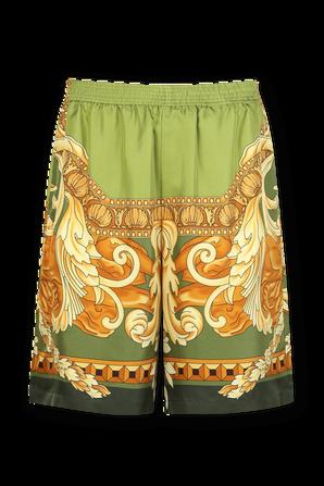 Medusa Renaissance Print Slik Shorts in Green VERSACE