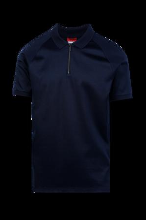 Zip Neck Slim-fit Polo Shirt in Blue HUGO