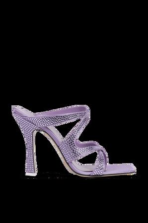 SUPERATTICO- נעלי עקב פלורה בגוון סגול משובץ אבנים THE ATTICO