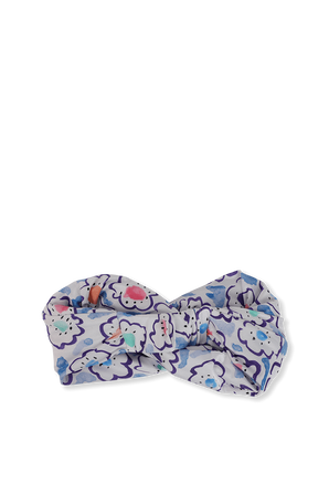 Floral Watercolor Print Headband in Blue ALESSANDRA RICH
