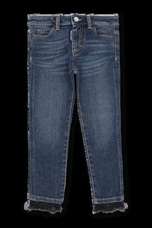 גילאי 4-16 מכנסי ג'ינס כחולים עם אמרות תחרה DSQUARED2 KIDS