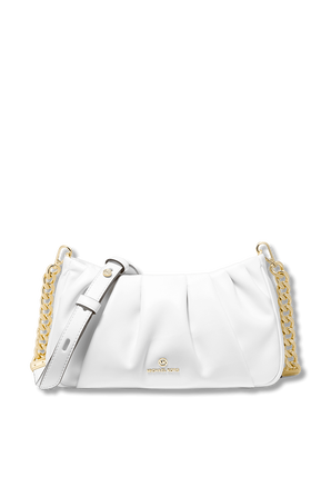 Hannah Small Pleated Convertible Clutch In White MICHAEL KORS