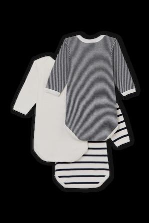 גילאי 3-36 חודשים שלישיית בגדי גוף ארוכים בסגירת קימונו PETIT BATEAU
