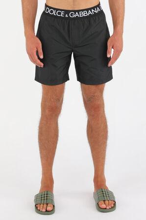 Mid Length Boxer Boardshorts in Black DOLCE & GABBANA