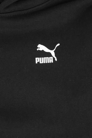 גילאי 4-16 סווטשירט קפוצ'ון עם לוגוטייפס בצבע שחור PUMA KIDS