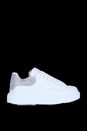 Silver Back Low Top Sneakers in White ALEXANDER MCQUEEN