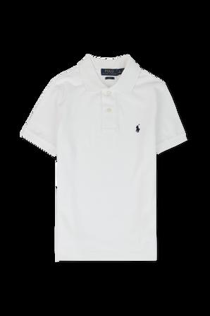 גילאי 8-18 חולצת פולו קלאסית קצרה בלבן POLO RALPH LAUREN KIDS