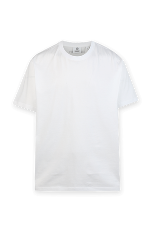 Monogram Stripe Print T-shirt in White BURBERRY
