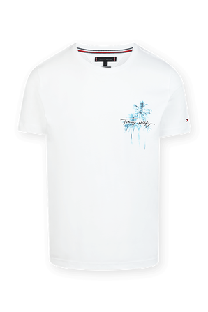 Palm Print Logo T-Shirt in White TOMMY HILFIGER