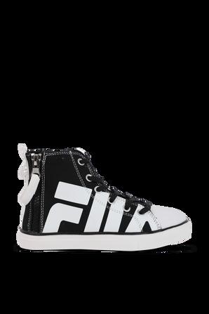 מידות 26-31 סניקרס לוגו גבוהות בשחור ולבן FILA