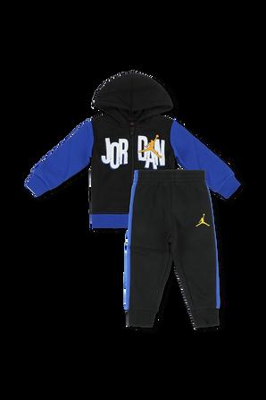 גילאי 12-24 חודשים סט מכנסיים וחולצה ממותגים בגווני כחול ושחור JORDAN