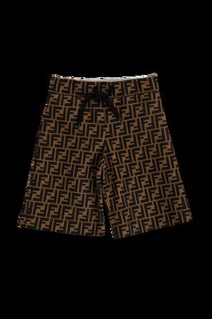 גילאי 8-12 מכנסיים קצרים עם לוגו FF אולאובר FENDI KIDS