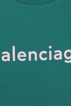 גילאי 2-10 חולצת לוגו קלאסית בטורקיז BALENCIAGA KIDS