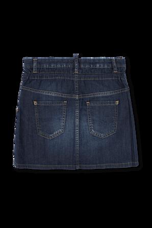 גילאי 4-16 חצאית גינס בשטיפה כחולה עם שרוכים DSQUARED2 KIDS