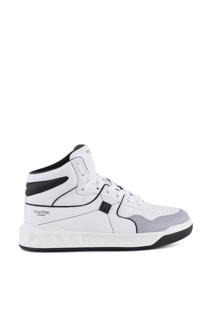 One Stus Mid Top White Leather Sneakers VALENTINO