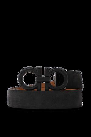 Leather Gancini Belt in Black SALVATORE FERRAGAMO