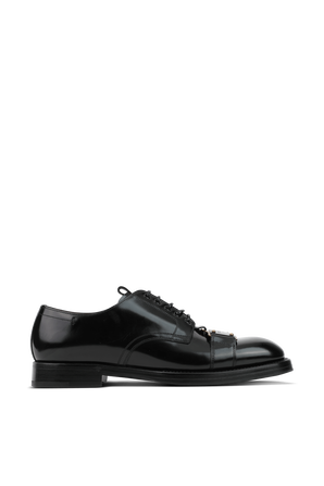 Brushed Black Leather Derby shoes With Branded Plate DOLCE & GABBANA