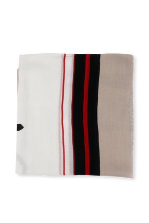 Signature Scarf in Beige Red and White TOMMY HILFIGER