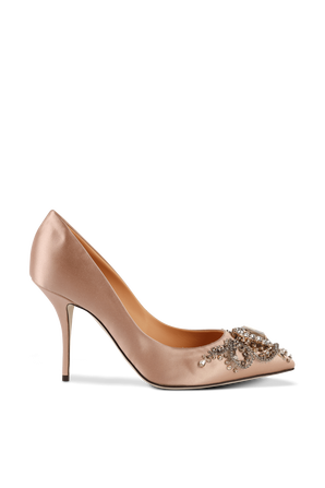 Pumps With Bejeweled Embellishment in Pale Pink DOLCE & GABBANA