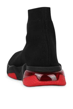Speed Clear Sole Sneaker in Black and Red BALENCIAGA