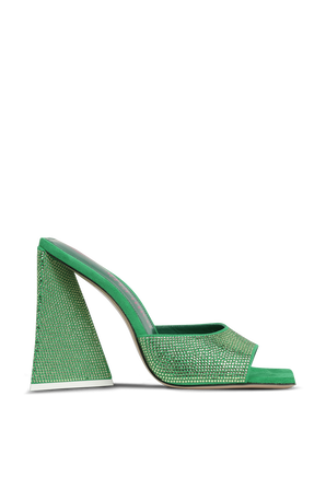 SUPERATTICO- נעלי עקב דבון בגוון ירוק משובץ אבנים THE ATTICO