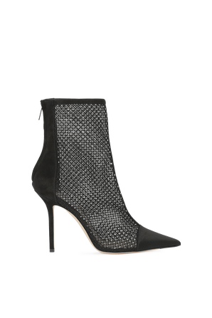 Black Satin and Suede Heeled Ankle Boots JIMMY CHOO