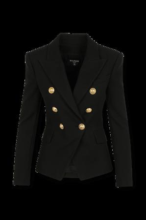 Pique Gold Buttons Jacket in Black BALMAIN