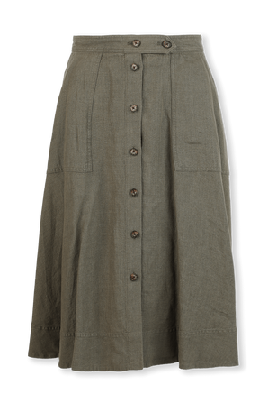 Linen Midi Skirt in Light Blue POLO RALPH LAUREN