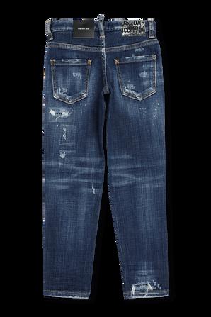 גילאי 4-16 מכנסי ג'ינס כחולים עם שפשופים וקרעים DSQUARED2 KIDS