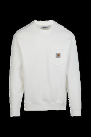 סווטשירט עם כיס בצבע לבן CARHARTT WIP