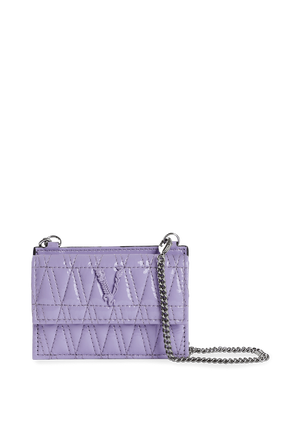 Virtus Quilted Nappa Leather Card Case in Purple VERSACE