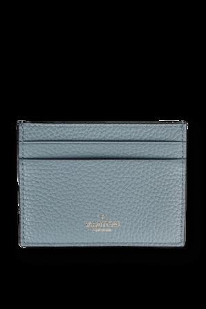 Rockstud Leather Cardholder in Light Blue VALENTINO