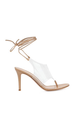 Nerea Ankle Tie Toe Heel Sandal in Nude GIANVITO ROSSI