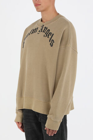 Palm Curved Logo Sweatshirt in Beige PALM ANGELS