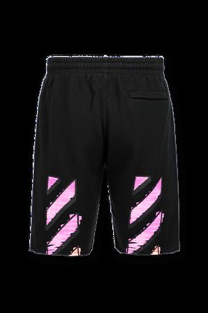 Diagonal Striped Sweat Shorts in Black OFF WHITE