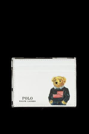 Bear Print Card Case in White POLO RALPH LAUREN
