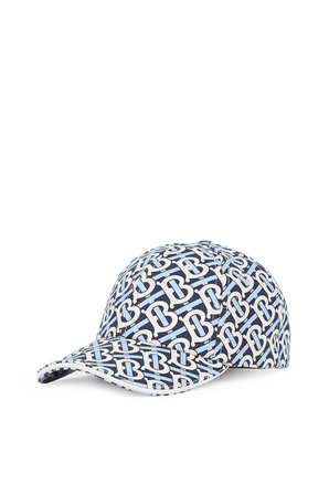 כובע מצחייה עם דוגמה מונוגרמית בגווני כחול ולבן BURBERRY