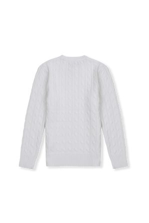 גילאי 8-16 סוודר כותנה לבן קלאסי POLO RALPH LAUREN KIDS