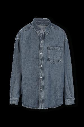Oversized Cotton Linen Shirt in Medium Indigo Wash RAG & BONE