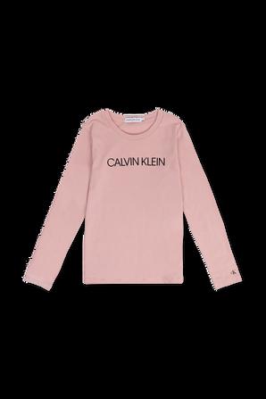 גילאי 4-16 חולצת טי ורודה עם שרוולים ארוכים ולוגו CALVIN KLEIN