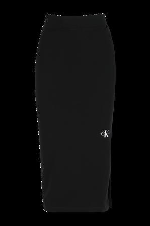חצאית עיפרון עם לוגו מונוגרמי בצד בגוון שחור CALVIN KLEIN