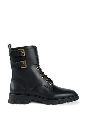 Ridley Leather Combat Boot in Black MICHAEL KORS